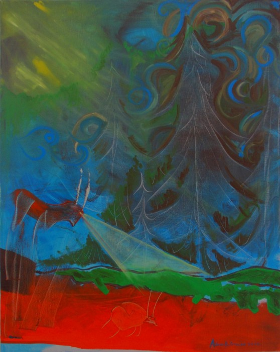 Antelope With Headlights by Adam Greene, oil on canvas