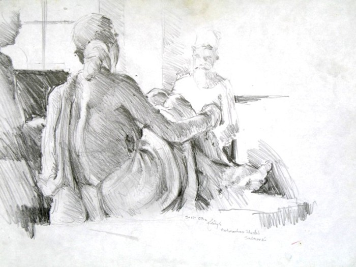 the sculptors' studio by Aditya Shirke, pencil on paper