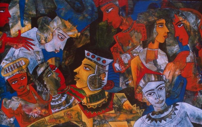 The Caricature of Royal Life by Aloke Tirtha Bhowmick, Acrylic on Canvas
