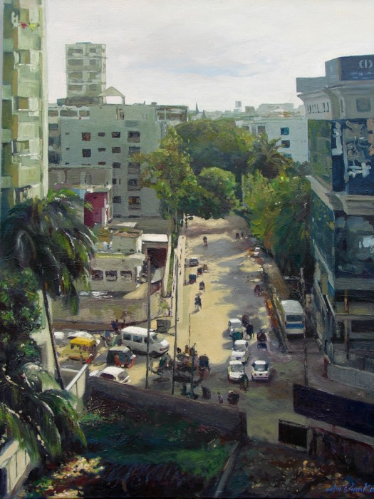 Dhanmondi # 6 at Afternoon by Avi Ain, Oil on Canvas