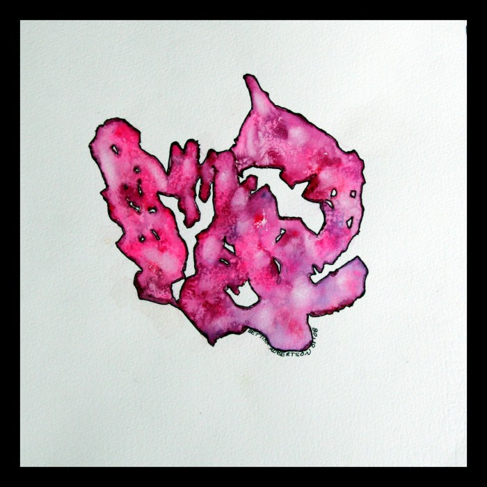 Ruby Rorsharch by Bettina Robertson, watercolor on hot-pressed