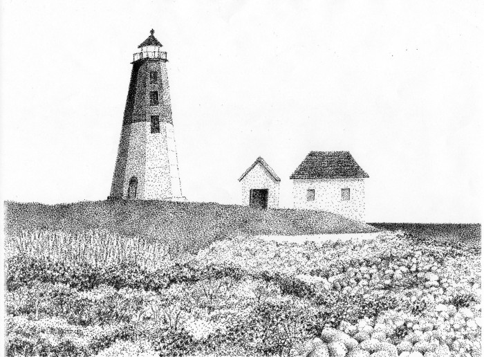 Point Judith by Bob Marrone, Pen and ink on Paper