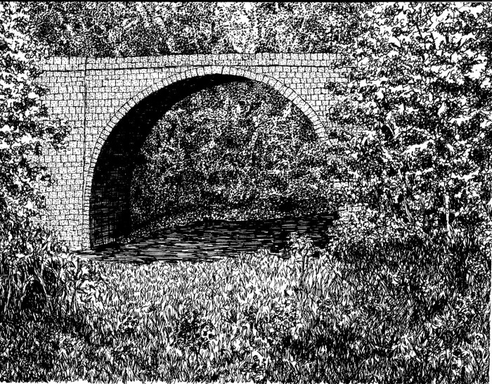 Keene Arch by Bob Marrone, Pen and ink on Paper