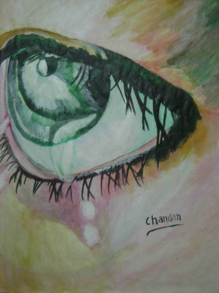 emotion in eye by Chandan Vikram, acrylic on pestle sheet