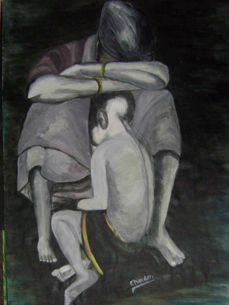mother and child by Chandan Vikram, acrylic on pestle sheet