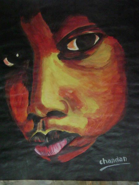 a boy by Chandan Vikram, acrylic on pestle sheet