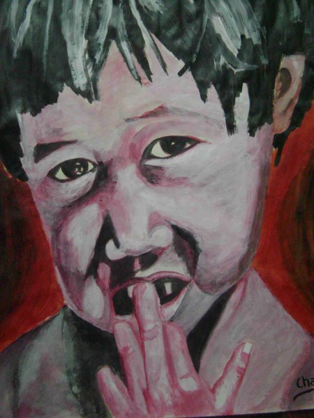 a poor white child by Chandan Vikram, acrylic on pestle sheet