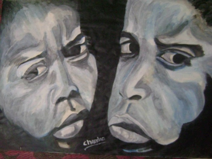 true emotion by Chandan Vikram, acrylic on pestle sheet
