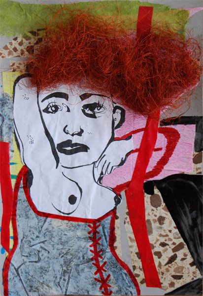 Untitled947 by Claudio Parentela, Mixed Media on Cardboard(Photos,Paints,Ink,Raphia,Plastics)- on Cardboard