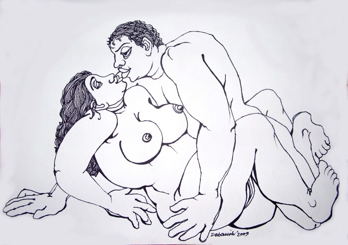 The erotic metting by Debasish Podder, Pen & ink on wood free paper