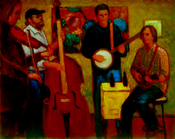 Musicians in Open Studio by Denis Huang, Oil Painting on Canvas