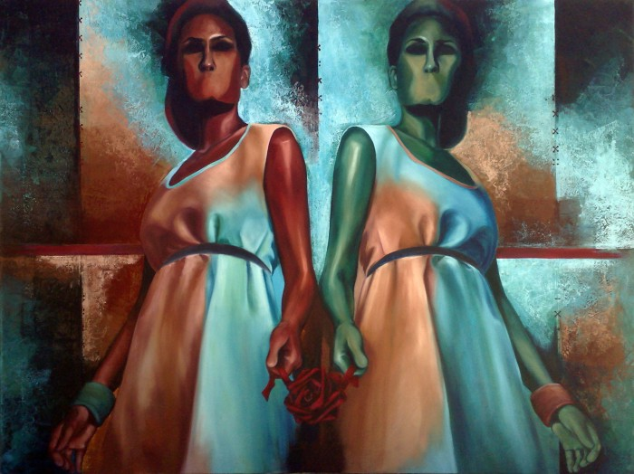 The Gifted Two by Divya Rathore, oil on canvas