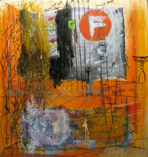 F-Train to 2nd Ave by Erik Vonploennies, Mixed media on wood on wood