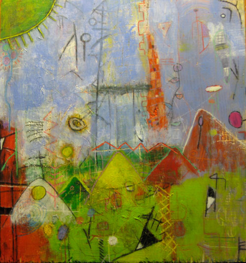 Green Sun by Erik Vonploennies, Mixed media on wood on wood