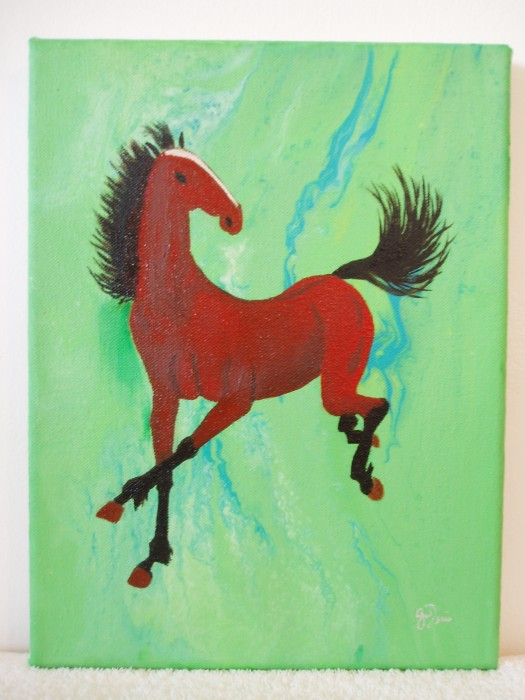 Aerial Painting No. 4033-Horse 3001 by Gracemunkam Tsui, Oil on Canvas