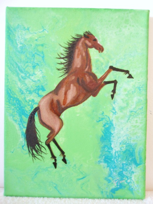 Aerial Painting No. 4034-Horse 3002 by Gracemunkam Tsui, Oil on Canvas