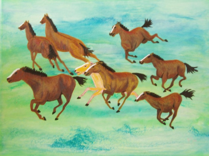 Aerial Painting No. 9018-Eight horses by Gracemunkam Tsui, Oil on Canvas