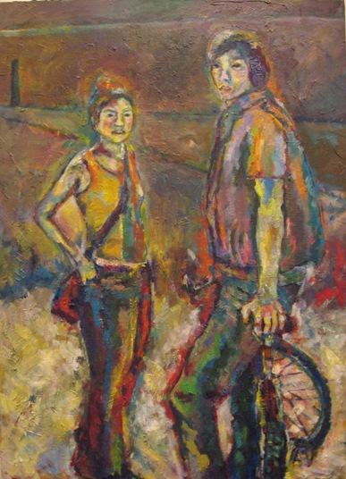 girl&boy by Hiki Moto, oil on canvas