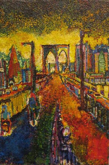 Brooklyn Bridge by Hiki Moto, oil on canvas