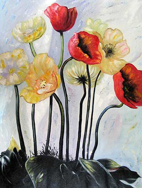 red and yellow flowers by Jesno Jackson, acrylic on canvas
