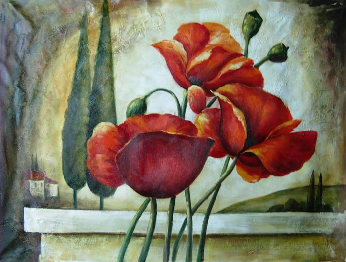red flowers by Jesno Jackson, oil on canvas