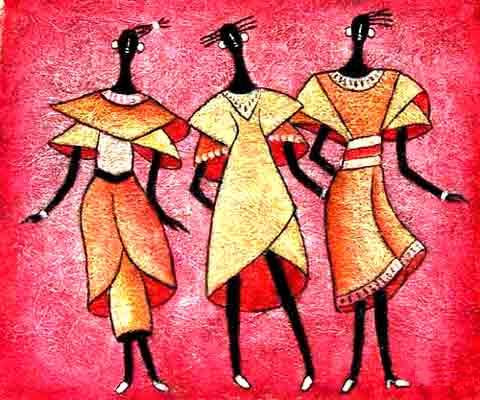 three dancers by Jesno Jackson, poster on paper