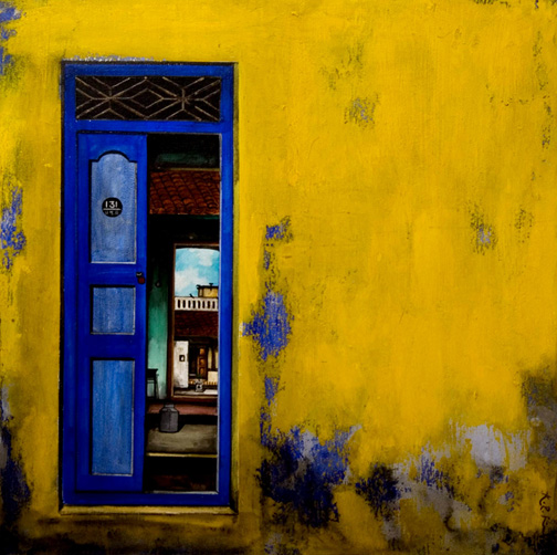door-1 by K.r.santhana Krishnan, acrylic on canvas