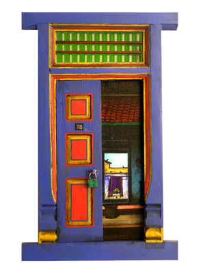Door by K.r.santhana Krishnan, mixed media on wood on canvas and wood