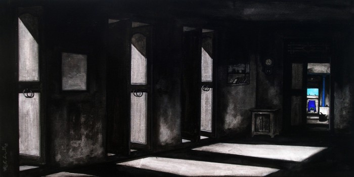 Black & White by K.r.santhana Krishnan, acrylic on canvas