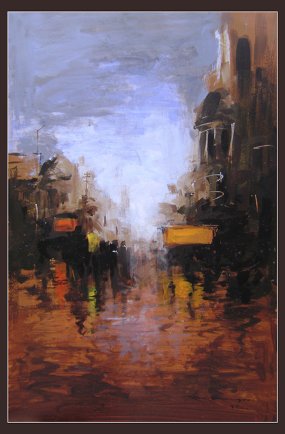 kolkata in water by Kingshuk Bhattacharya, Acrylic on board