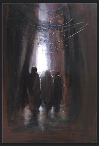 towards light-2 by Kingshuk Bhattacharya, Acrylic on board