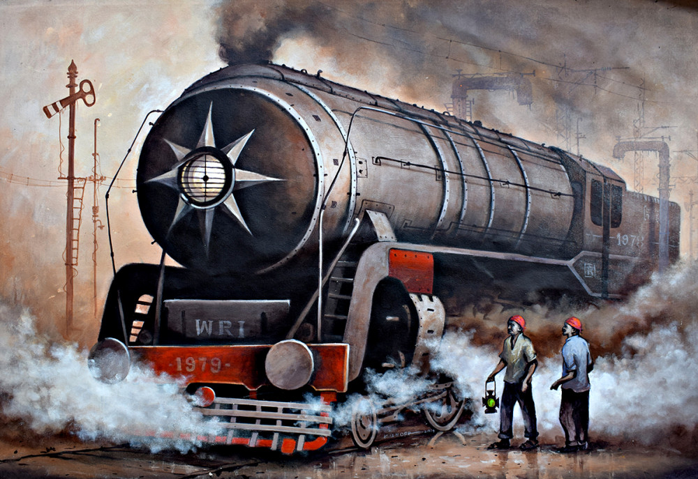 Black Engine01 by Kishorepratim Biswas, Water Colour on Paper