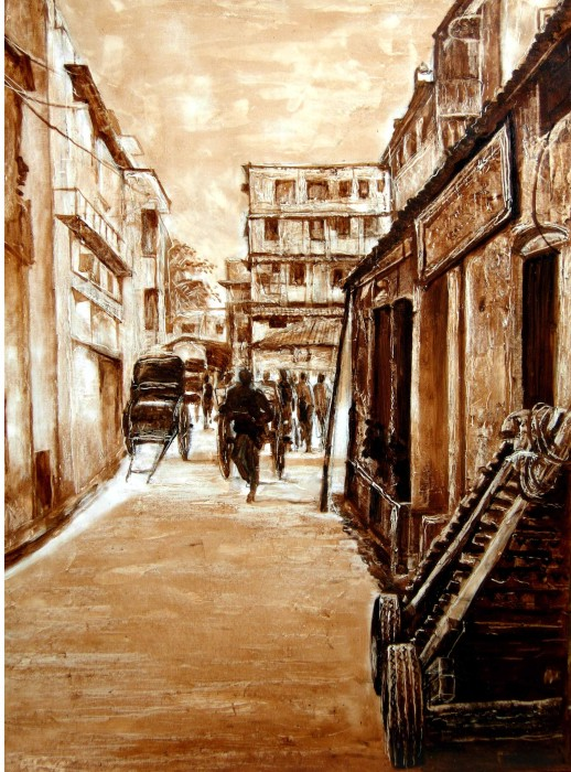 CITYSCAPE-2 by Kshudiram Maity, OIL on PAPER