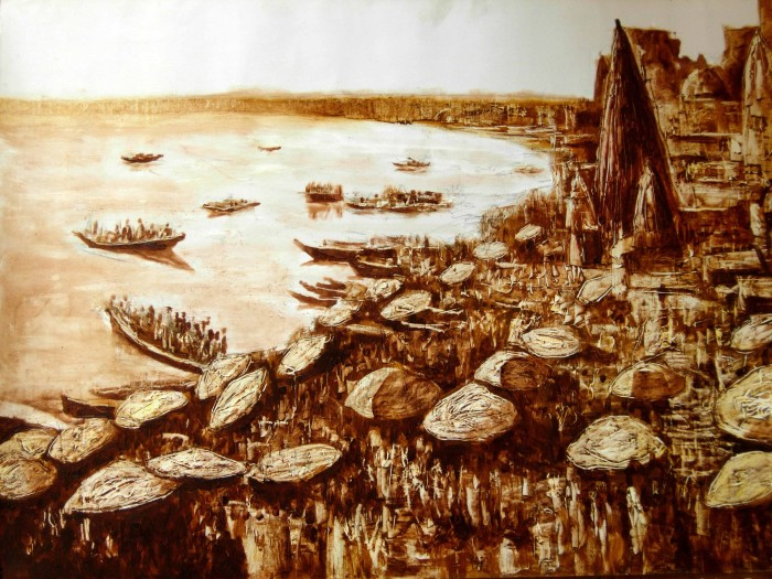 banaras by Kshudiram Maity, OIL on PAPER