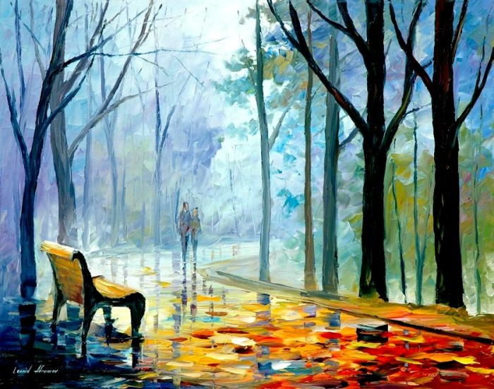 Misty Alley by Leonid Afremov, painting on canvas