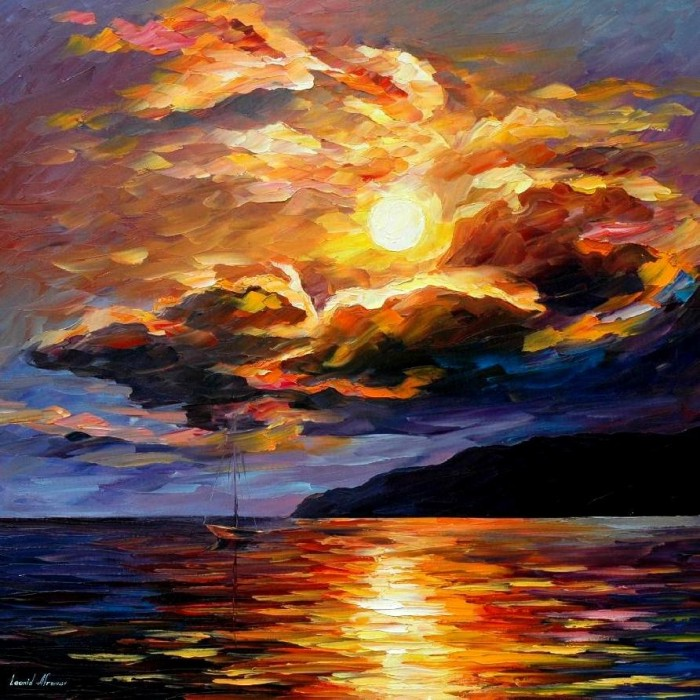 Gold Clouds by Leonid Afremov, painting on canvas