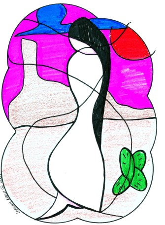 Alone Thinking by Loretta Nash, marker on paper