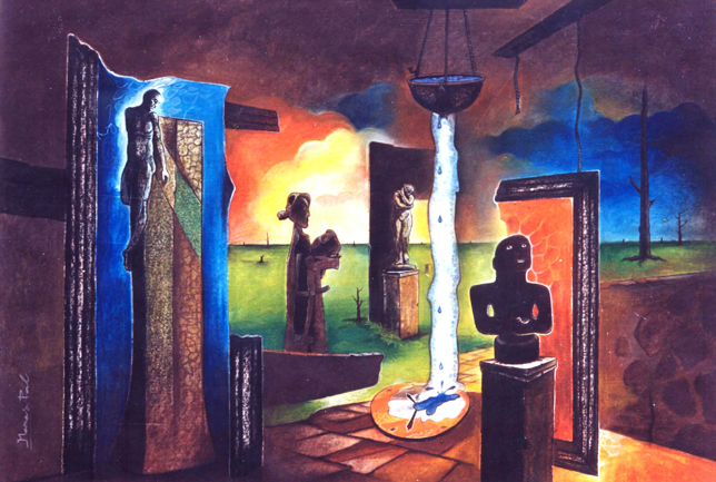 HISTORY OF SCULPTURES by Manas Pal, ACRYLIC on Canvas