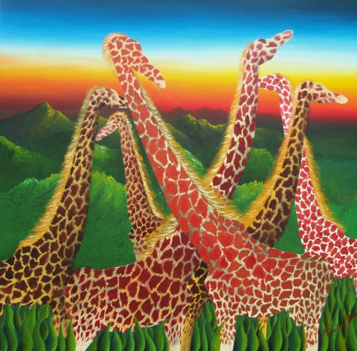 Giraffe by Massimiliano Stanco, Oil on Canvas on Canvas