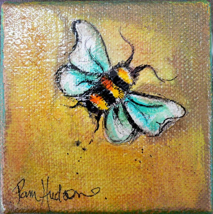 Yellow Bumble Bee by Pamela Hudson, Acrylic on canvas