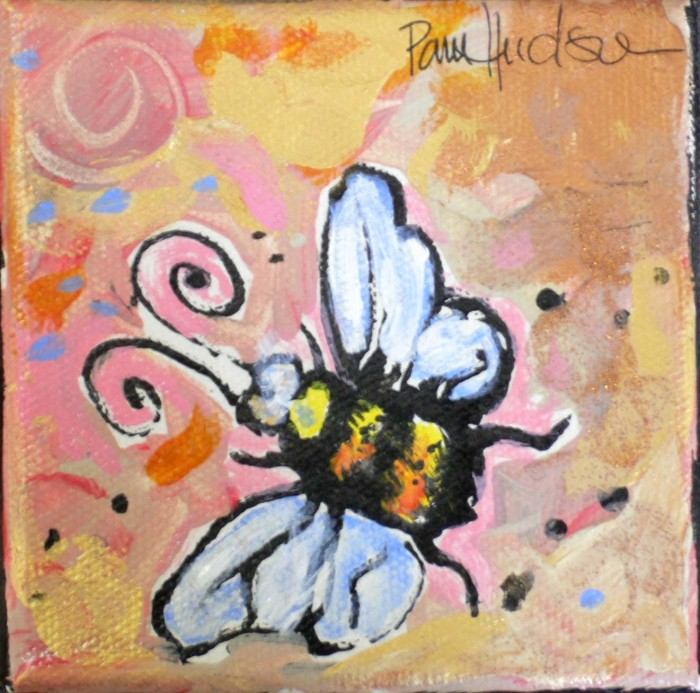 Pink Bumble Bee by Pamela Hudson, Acrylic on canvas