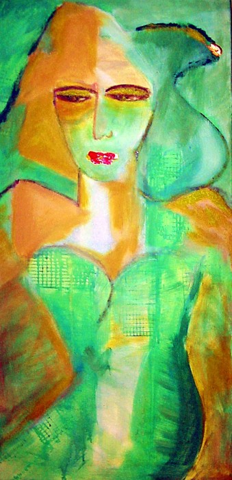 I paint you in green by Pilar Bamba, acrylic on canvas