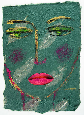 In Green by Pilar Bamba, mixed media on paper