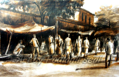 bussy market place by Poulami Seal, oil on oil paper