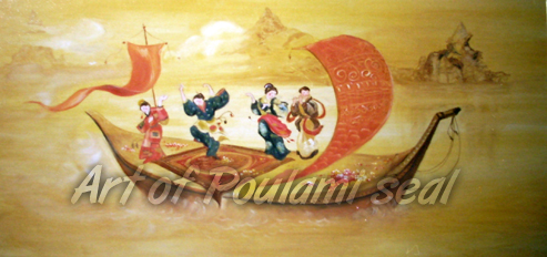 festival japanistyle by Poulami Seal, oil on plywood