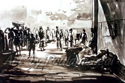 market place by Poulami Seal, ink on paper