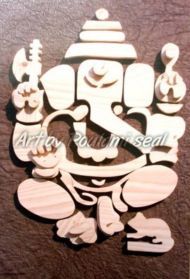ganesha series 2 by Poulami Seal, wood on