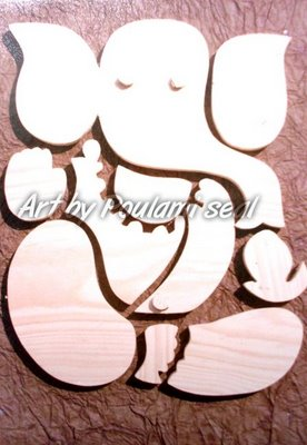 ganesha series 3 by Poulami Seal, wood on
