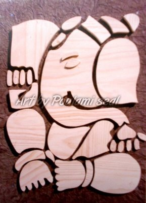 ganesha series 4 by Poulami Seal, wood on