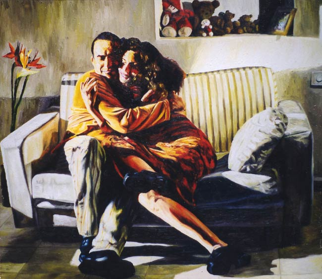 my brother and his wife by Raphael Perez, acrylic on canvas